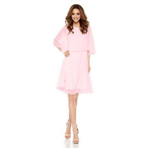 Różowa elegancka wieczorowa sukienka z narzutką, Lemoniade, 36-42