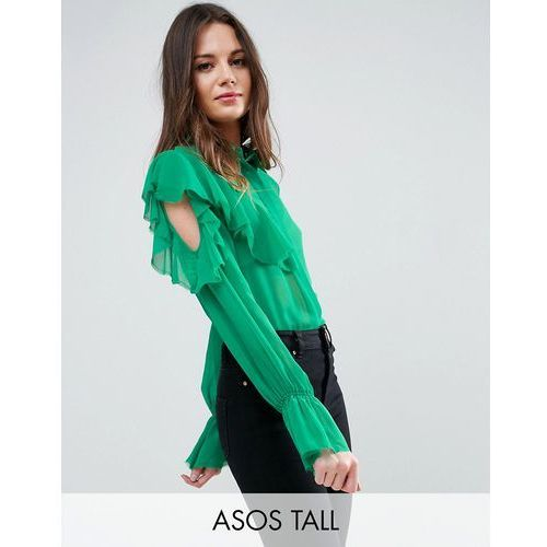 ASOS TALL Deconstructed Ruffle Cold Shoulder Blouse With Tie Detail - Green