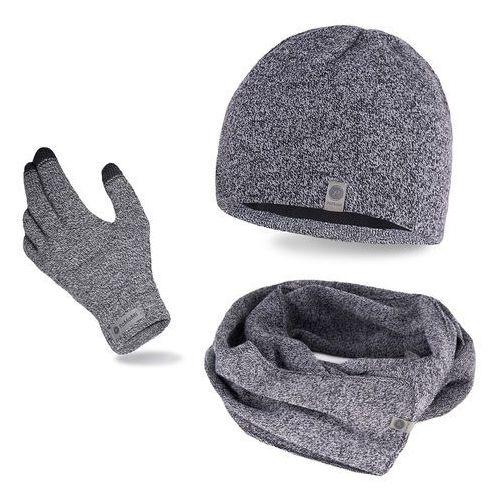 Pamami Komplet męski - czapka, szalik, rękawiczki - jasnoszara mulina (5902934061339)