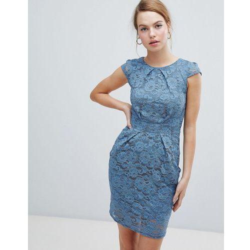 QED London Lace Tulip Dress - Blue