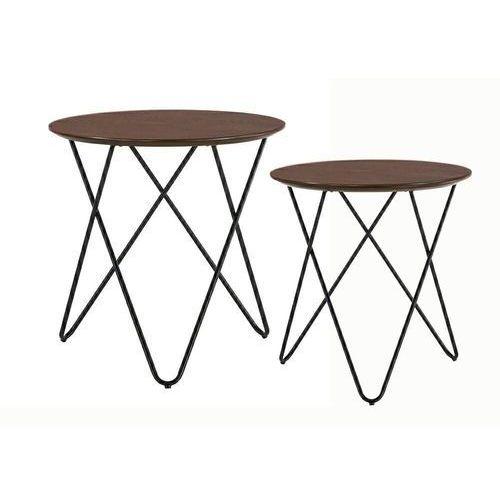 Zestaw stolików TAKING dąb - MDF fornirowany, metal (5900000050577)