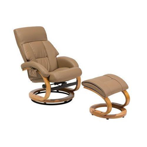 Fotel beżowy ekoskóra funkcja masażu z podnóżkiem force marki Beliani