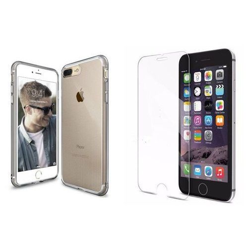Rearth / perfect glass Zestaw   rearth ringke air smoke black   obudowa + szkło ochronne perfect glass dla modelu apple iphone 7 plus