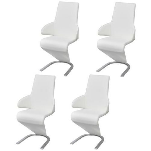 Vidaxl krzesła jadalniane z podłokietnikami ze sztucznej skóry 4 sztuki białe