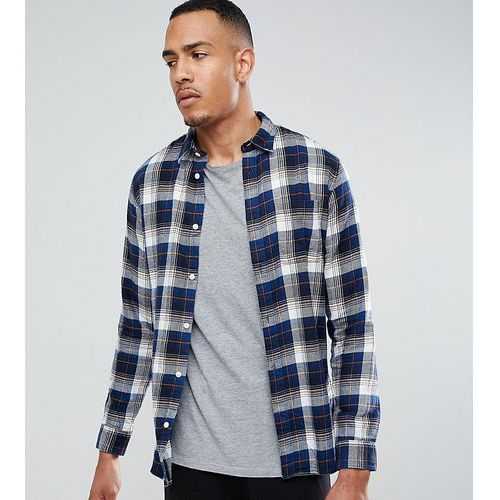 tall regular fit shirt in brushed check flanel - navy, Selected homme, S-XXL