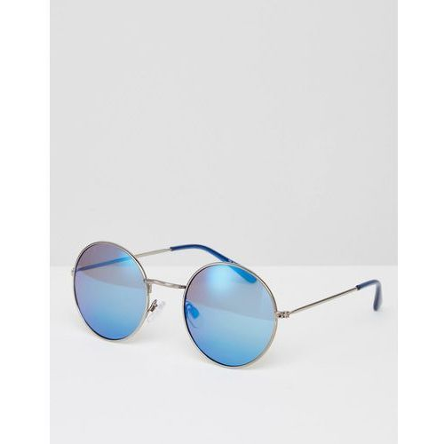 River island  round sunglasses with blue tint in silver - silver