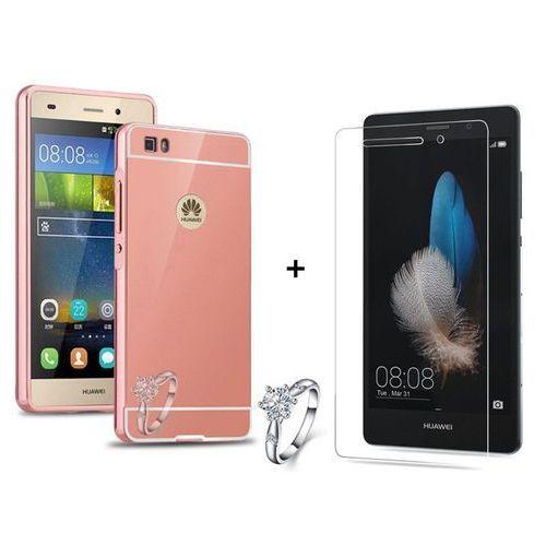 Zestaw | Mirror Bumper Metal Case Różowy + Szkło ochronne Perfect Glass | Etui dla Huawei P8 Lite