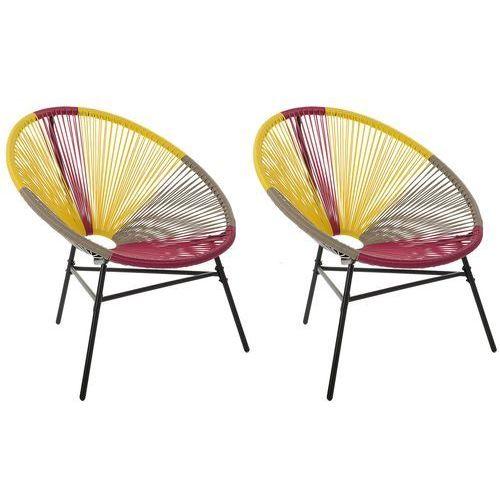 Beliani zestaw 2 krzeseł rattanowych różowo-żółto-beżowe acapulco