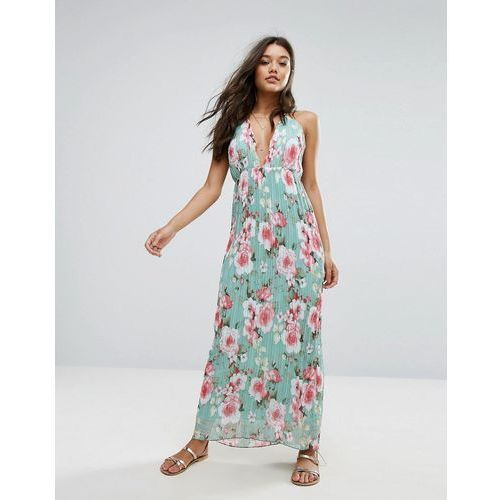 Missguided Plisse Plunge Floral Maxi Dress - Green, kolor zielony