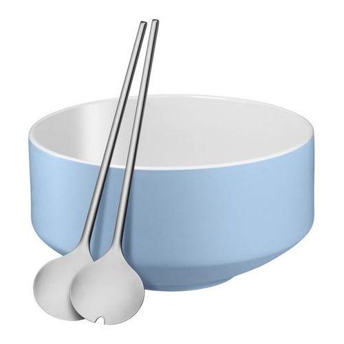 Zestaw do sałatek miska i sztućce WMF Moto niebieski