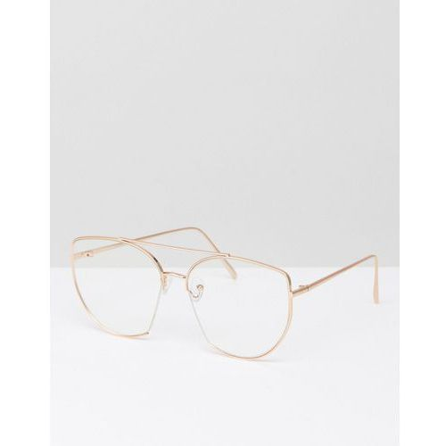 Asos  metal kitten with cut away and highbar geeky glasses with clear lens - gold
