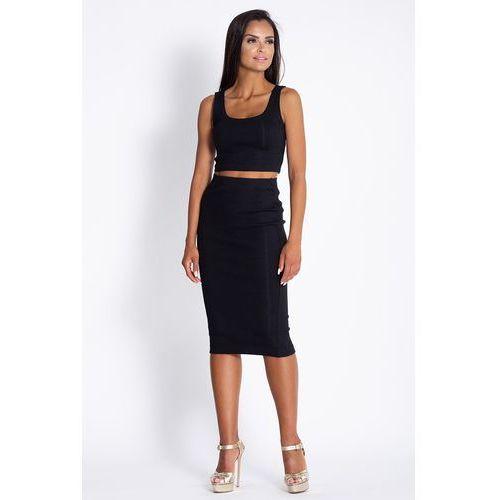 Czarny komplet krótki top z ołówkową midi spódnicą, kolor czarny