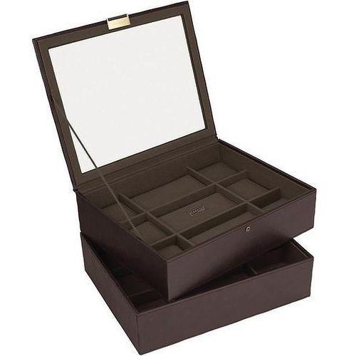 Pudełko na zegarki podwójne Stackers 18 komorowe brąz khaki, 73243