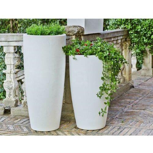 New garden donica bambu 70 solar biała - led, sterowana pilotem marki Sofa.pl