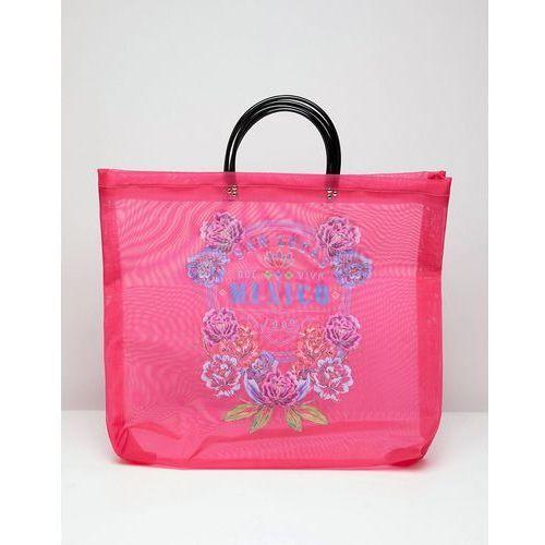 Asos design printed mesh shopper - pink