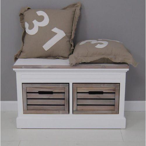 Ławka, seria provance, matowa biel, skrzynie, naturalne drewno. marki Design by impresje24