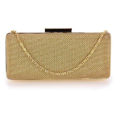 Złota torebka wizytowa szkatułka z metalową siatką - złoty, kolor żółty