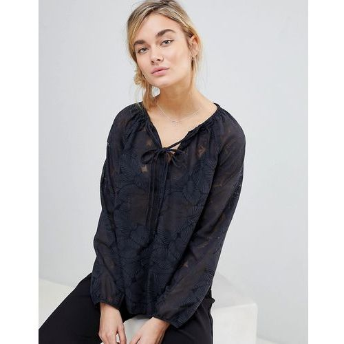 lace blouse with tie neck - black, See u soon