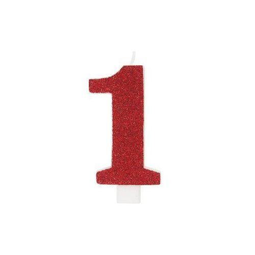 Świeczka cyferka z brokatem czerwona - 1 - 1 szt.