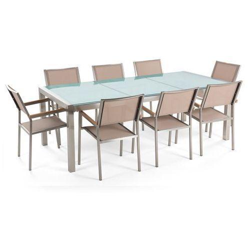 Zestaw ogrodowy stół szkło tłuczone dzielony blat i 8 krzeseł beżowych GROSSETO