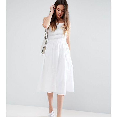 ASOS TALL Pleated Midi Sundress - White, kolor biały
