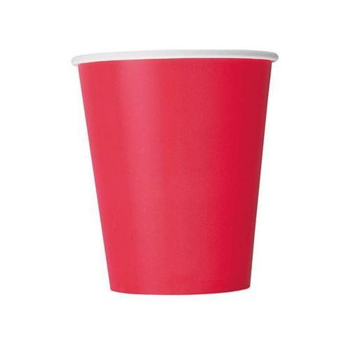 Kubeczki papierowe czerwone - 266 ml - 14 szt.