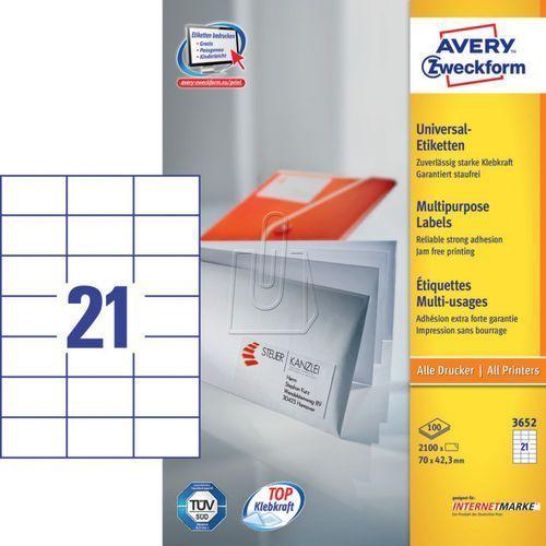 Etykiety uniwersalne trwałe a4 70 x 42,3mm 100 arkuszy  3652 marki Avery zweckform