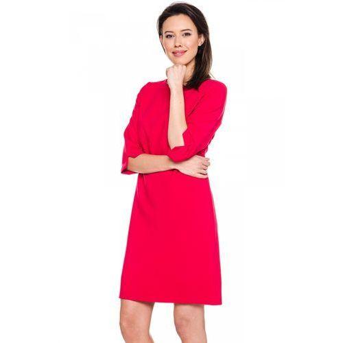 Czerwona sukienka z przeszyciem - EMOI