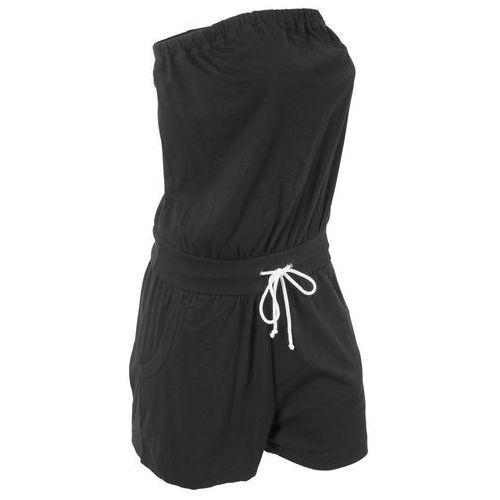 Kombinezon bawełniany bandeau, krótki czarny marki Bonprix