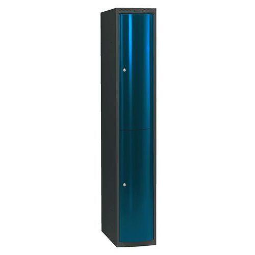 Ekskluzywne szafy osobiste 1x2 schowki w pionie Kolor drzwi: Niebieski metalizowany