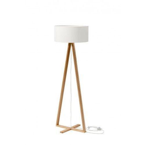 Lampa stojąca z abażurem drewniana tales jesionowy - kolor abażura biały marki Ragaba