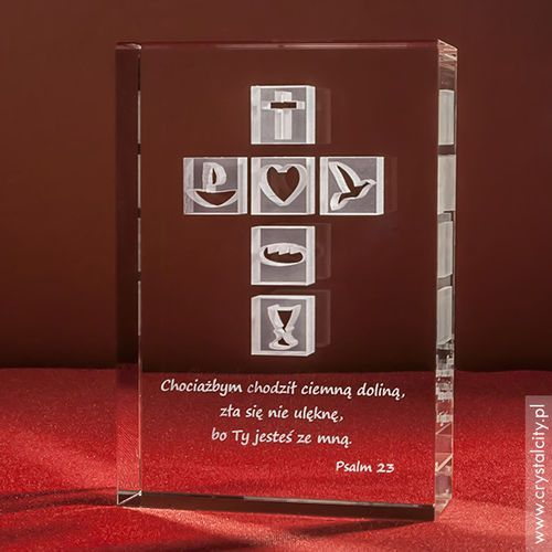 Krzyż 3D • personalizowana statuetka • Pamiątka na Chrzest, Komunię, Bierzmowanie, Prymicję