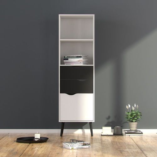 Rega� oslo 2s1d w stylu retro - bia�y ||czarny marki Tvilum