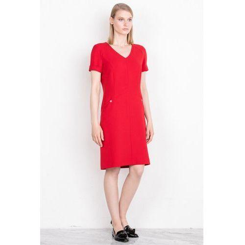 Dopasowana sukienka w kolorze czerwonym - Patrizia Aryton, kolor czerwony
