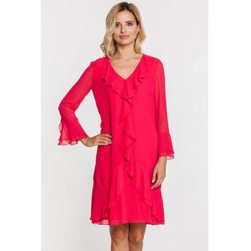Czerwona sukienka z falbanami i hiszpańskimi rękawami - Vito Vergelis, kolor różowy