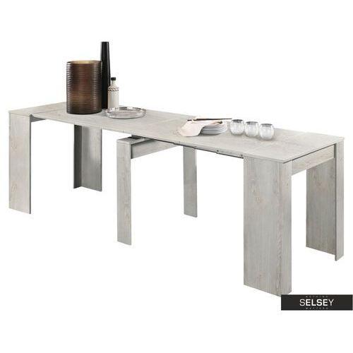 SELSEY Stół rozkładany Dadivosa 54-252x79 cm pinia biała (5903025426730)