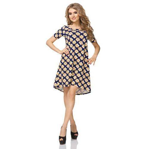 Sukienka Trapezowa z Krótkim Rękawem Wzór - Romby, trapezowa