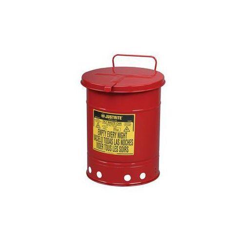 Bezpieczny pojemnik na odpady z blachy stalowej,okrągłe, z obsługą ręczną