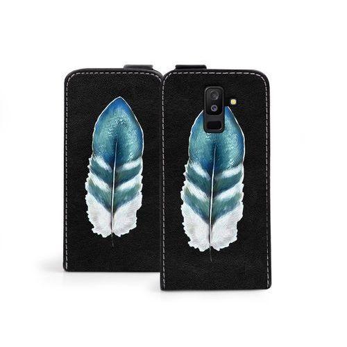 Samsung galaxy a6 plus (2018) - etui na telefon flip fantastic - turkusowe piórko marki Etuo flip fantastic
