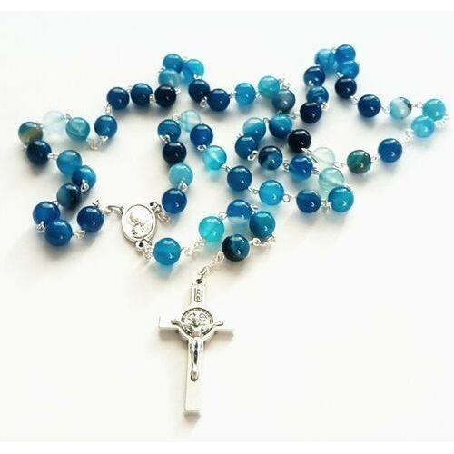 Różaniec z kamieni agat niebieski z Janem Pawłem II/Matką Bożą