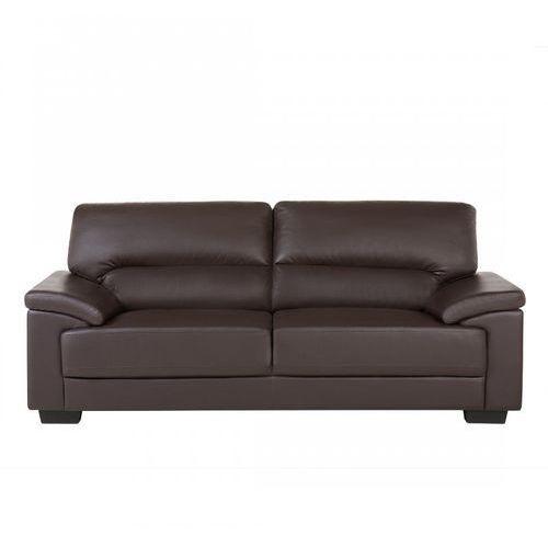 Sofa brązowa - trzyosobowa - kanapa - skóra ekologiczna - Mestoli, kolor brązowy