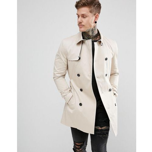 double breasted belted trench coat in light stone - stone, River island