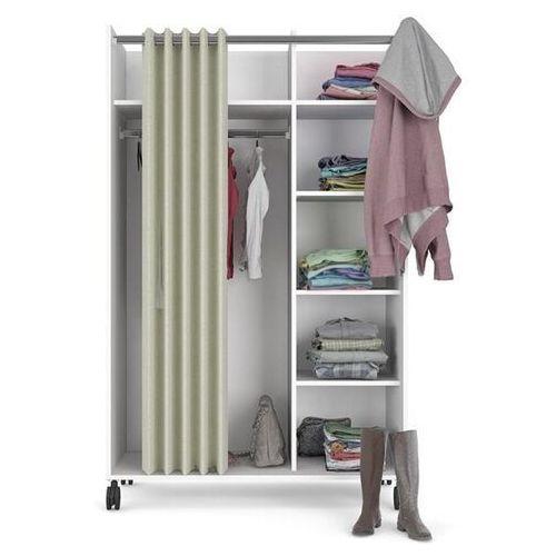 Biała mobilna szafa handy z zasłoną tekstylną marki Tvilum