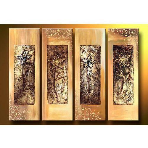 """""""kwiaty w strukturze"""" obrazy nowoczesne strukturalny, 4 niezależne elementy"""