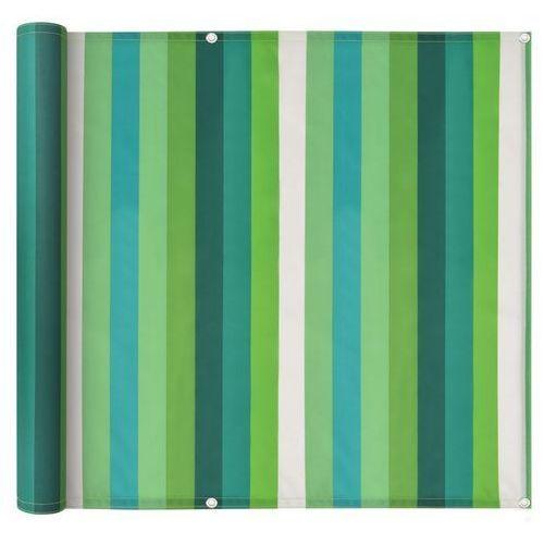 Vidaxl parawan balkonowy z tkaniny oxford, 90x600 cm, zielone paski (8718475558170)