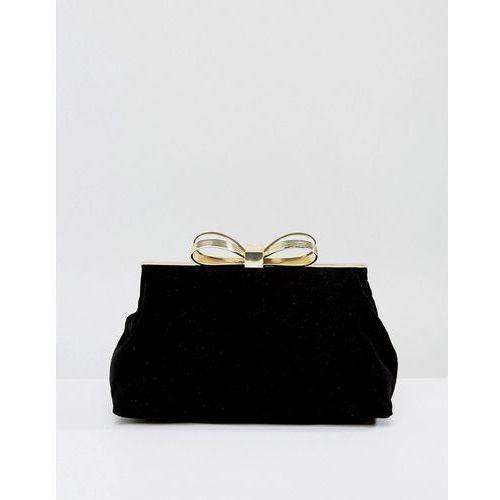 Ted baker  statement bow evening bag in velvet - black
