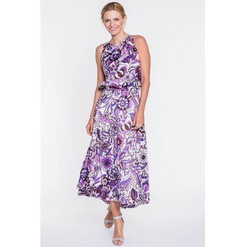 Sukienka maxi w fioletowe kwiaty - SU, kolor fioletowy