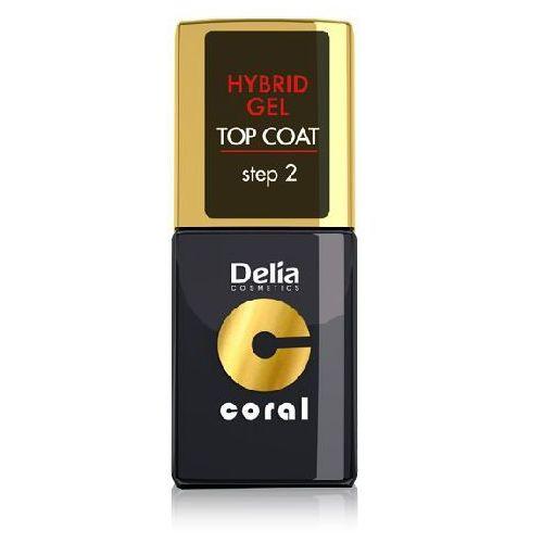 Delia Cosmetics Coral Nail Enamel Hybrid Gel żelowy lakier na paznokcie wierzchni Top Coat (Step 2) 11 ml