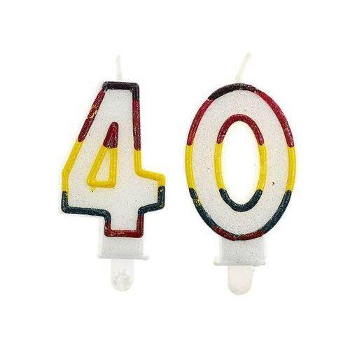 Świeczki cyferki z brokatem - 40 - czterdziestka - 2 szt.