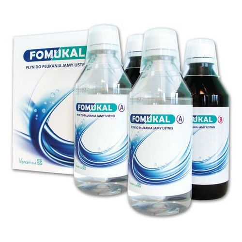 Fomukal płyn do płukania jamy ustnej x 2 butelki a 225ml + 2 butelki b 225ml marki Vipharm s.a